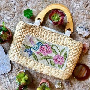 {Vintage Hummingbird} Wicker Basket/Straw Purse